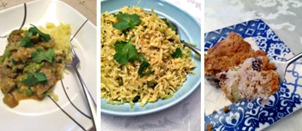 Lamb Curry - Indian Rice & Cabbage - Rhubarb Pecan Coffeecake