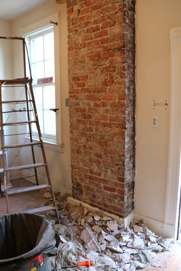Before  After Exposing a Brick Chimney Under Plaster Walls  17 Apart