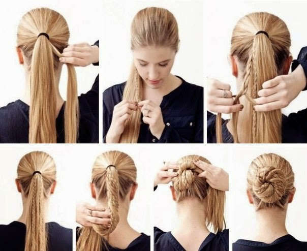 Beautiful Bun Of Multi Braids Hairstyle Quick And Easy Fashion