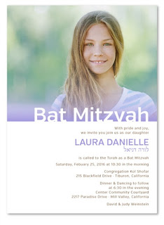http://www.foreverfiances.com/Custom-Photo-Bat-Mitzvah-Invitations-p/life_purple_batmit_re.htm
