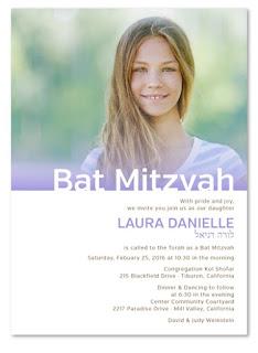 http://www.foreverfiances.com/Custom-Photo-Bat-Mitzvah-Invitations-p/life_purple_batmit_re.htm