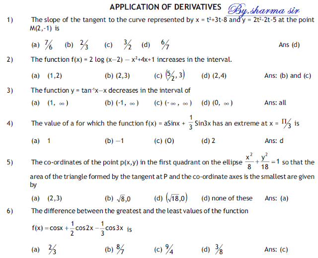 Important questions for  Application of derivatives