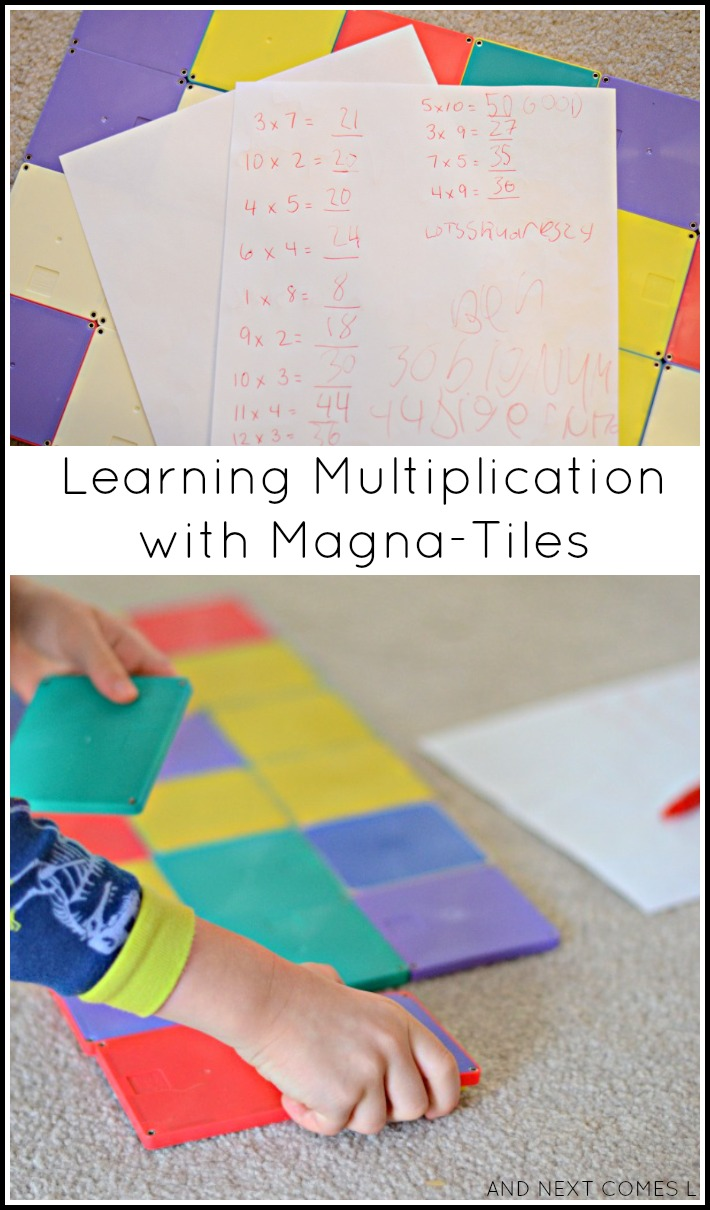 Learning multiplication with Magna-Tiles - a hands-on math activity for elementary kids from And Next Comes L