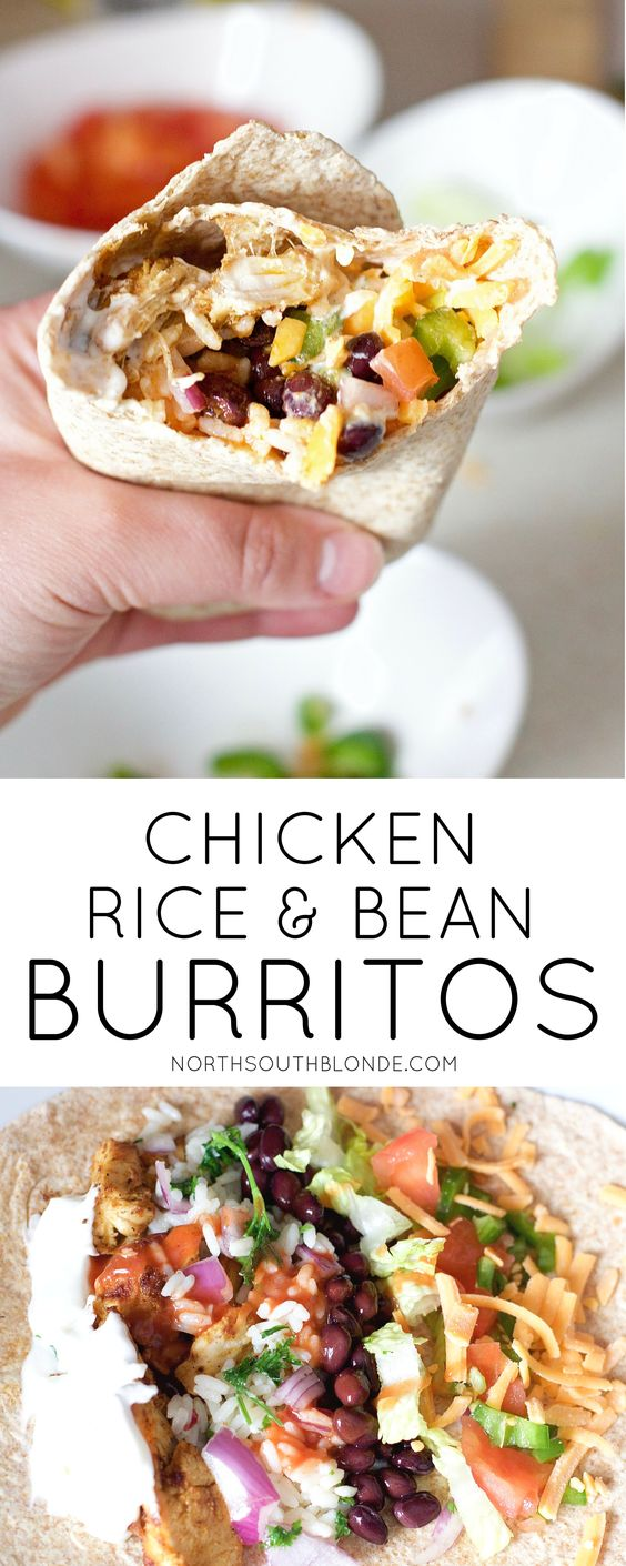 CHICKEN RICE AND BLACK BEAN BURRITOS #chicken #chickenrice #chickenrecipes #blackbean #burritos #lunchideas #lunchrecipes