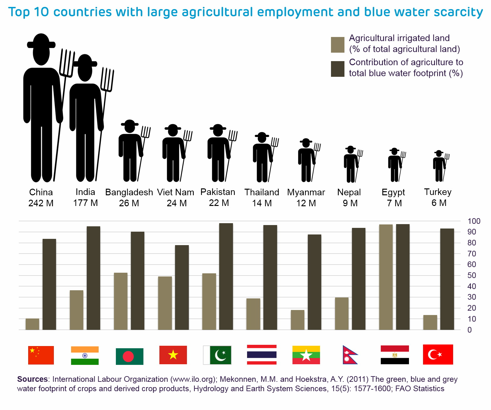 Top 10 countries with large agricultural employment and blue water scarcity