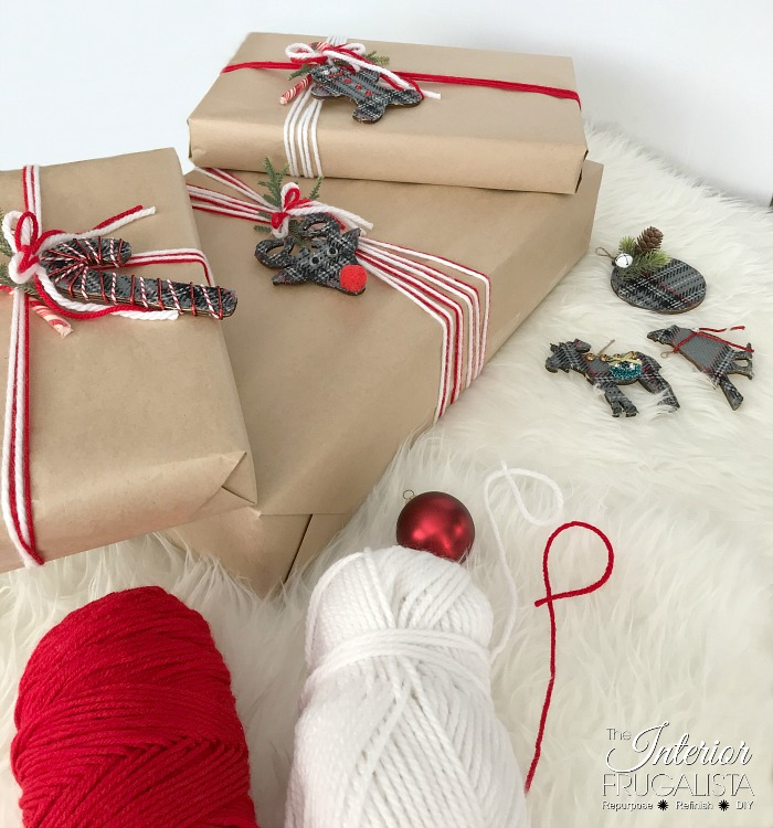 Eco Friendly Holiday Gift Wrap with yarn ribbon