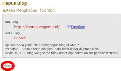Cara Menghapus Blog pada Situs Wagomu