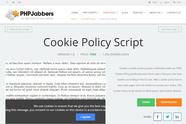 script de politica de cookies - lei geral de proteção de dados - privacidade - segurança da informação