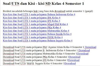 Download Soal UTS dan Kisi - kisi SD Kelas 4 Semester 1