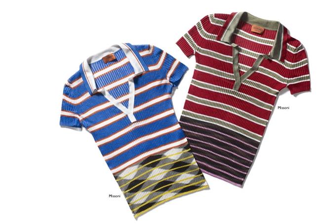 Missoni藍彩條紋針織Polo衫