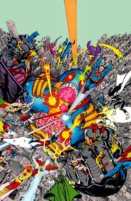 The heroes fighting the Anti-Monitor,