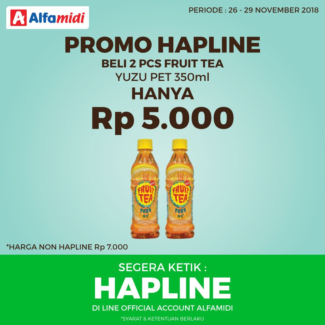 Alfamidi - Promo HAPLINE Beli 2PCS Fruit Tea Yuzu 350ml Cuma 5 Ribu (s.d 29 Nov 18)