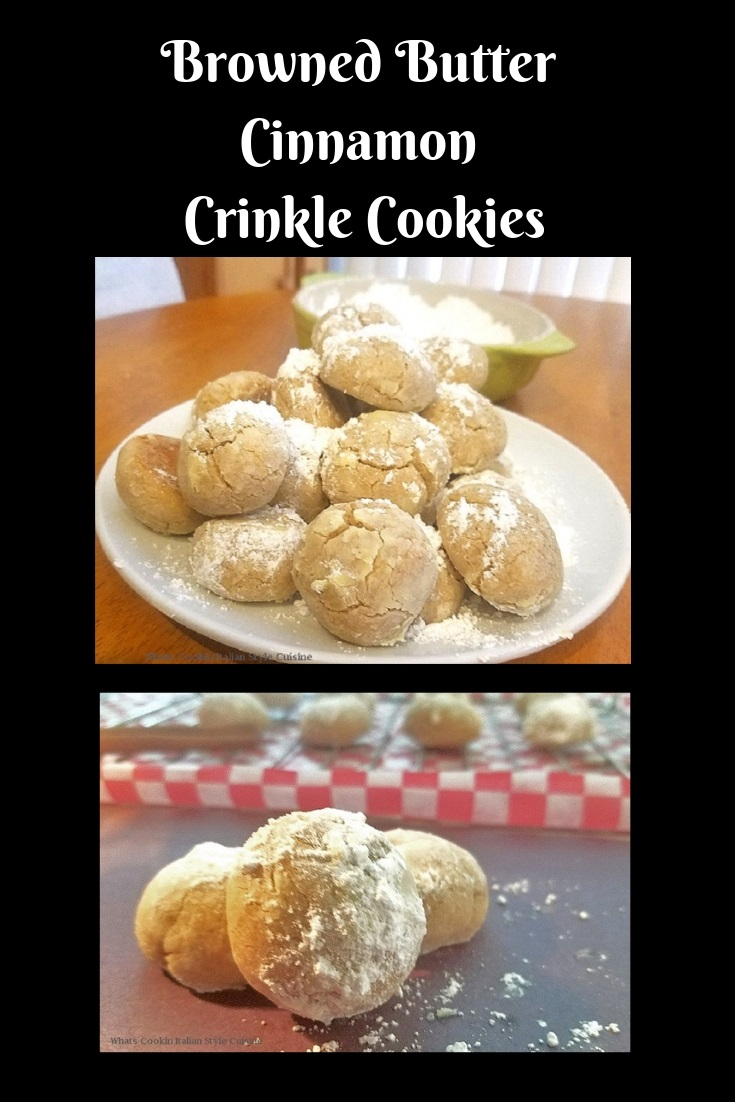 these are three crinkle cookies made with cinnamon flavors and buttery cookies rolled in powdered sugar with crinkles on top
