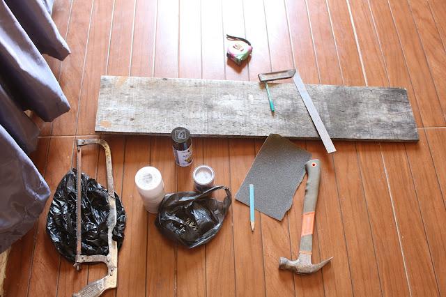 alat dan bahan diy pembuatan kerajinan hiasan kayu pallet