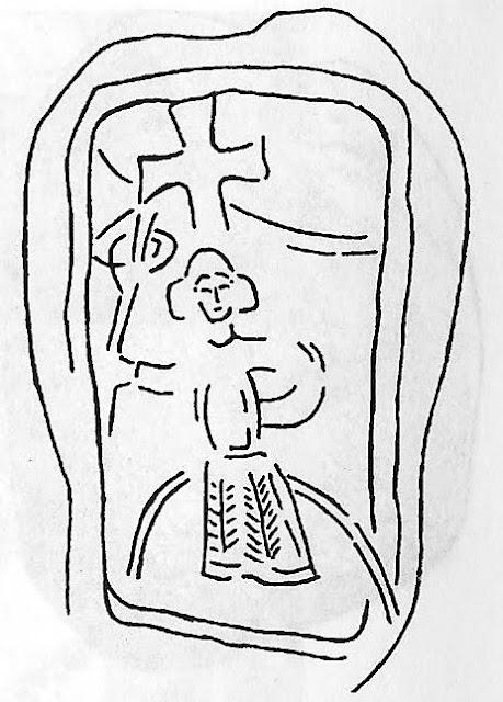 Wolgast - kościół Św. Piotra - drugi wmurowany w świątynie kamień przedstawiający słowiańskiego boga Jarowita - rycina