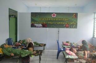 45 Orang Prajurit dan Ibu-Ibu Persit Ikut Donor Darah Dalam Rangka HUT Ke- 55 Yonkav 8 Kostrad