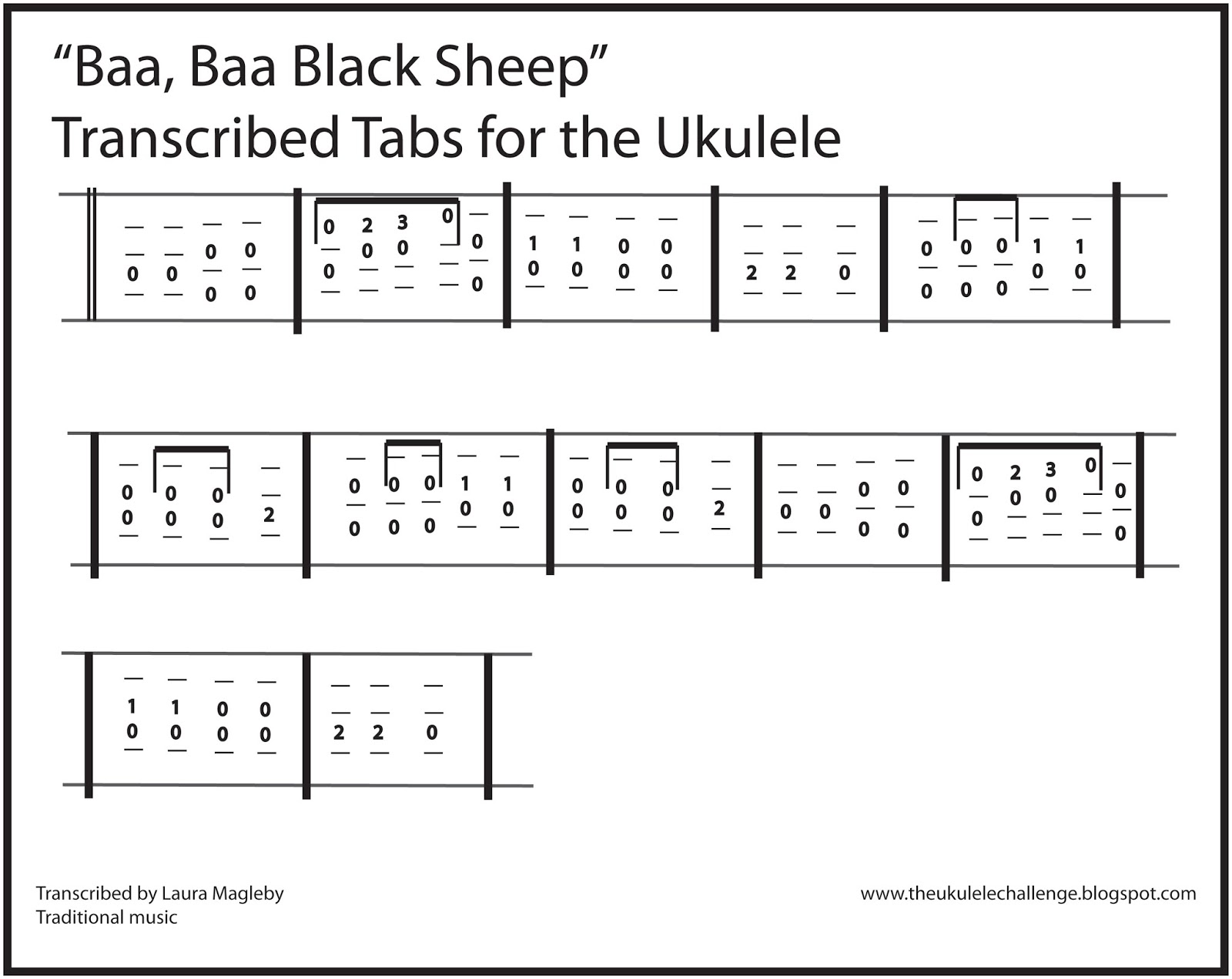 The Ukulele Challenge Baa Baa Black Sheep