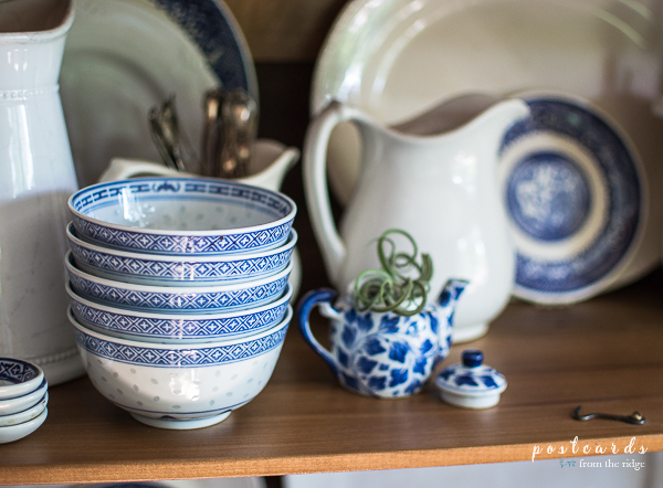 Love the blue and white bowls and dishes.