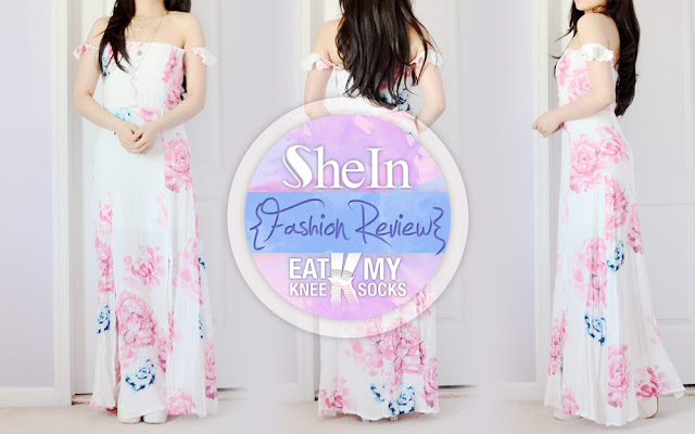 I've been picking out so many summery pieces lately, but today I've got one of my favorites yet: an off-shoulder floral maxi dress from SheIn! This adorable, elegant floor-length dress combines romantic ruffles with vibrant florals for a look that's fit for a goddess. - Eat My Knee Socks / Mimchikimchi