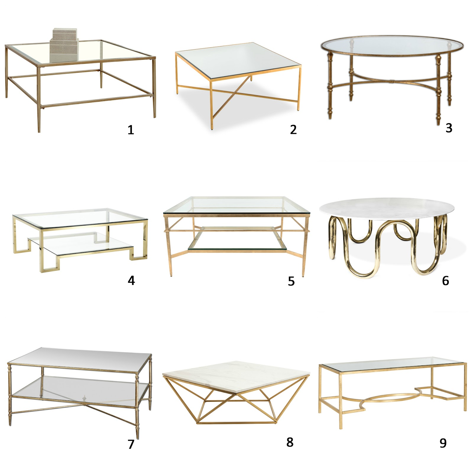 Save Or Splurge Brass And Glass Coffee Tables: AM Dolce Vita: A Roundup Of Brass And Glass Coffee Tables