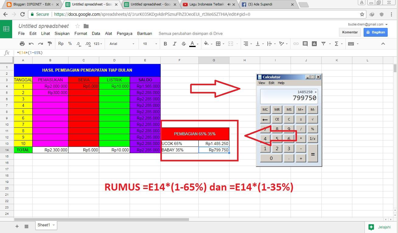 Cara Membuat Rumus Persen Di Spreadsheet