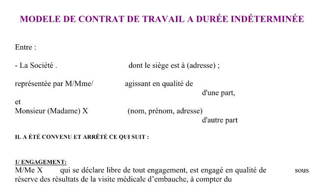 Contrat De Travail Cdi Word Maroc Vinny Oleo Vegetal Info