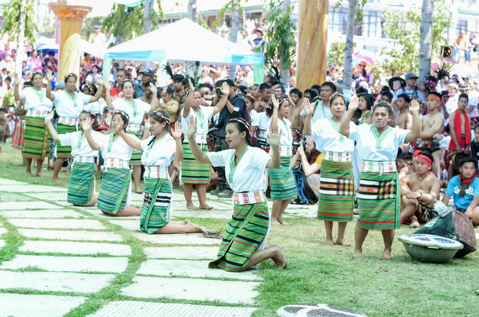 Ethno-Indigenous Women On Bended Kness 13th Lang-Ay Festival Bontoc Mountain Province Cordillera Administrative Region Philippines