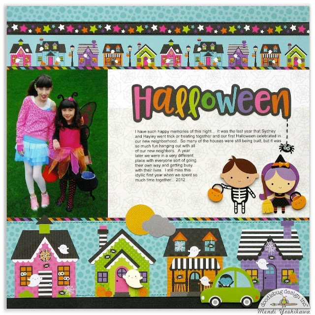 Doodlebug Design Booville Halloween Scrapbook Layout Page by Mendi Yoshikawa