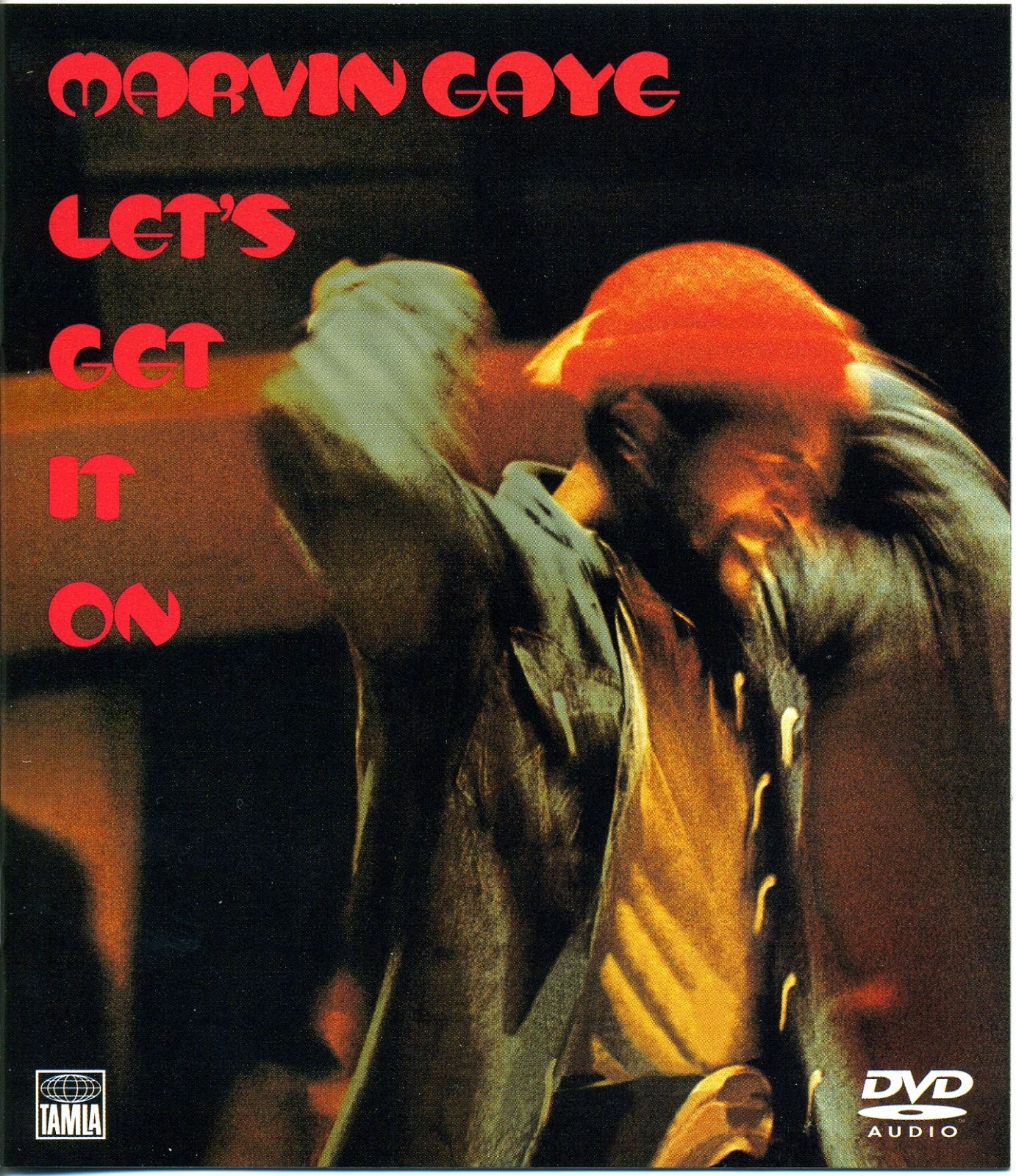 Marvin Gaye in red hat on cover of LP Let's Get it On