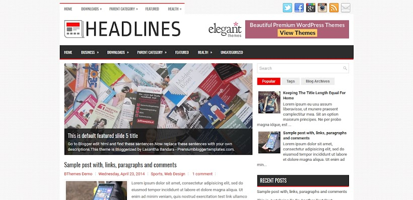 Headlines Free Blogger Template