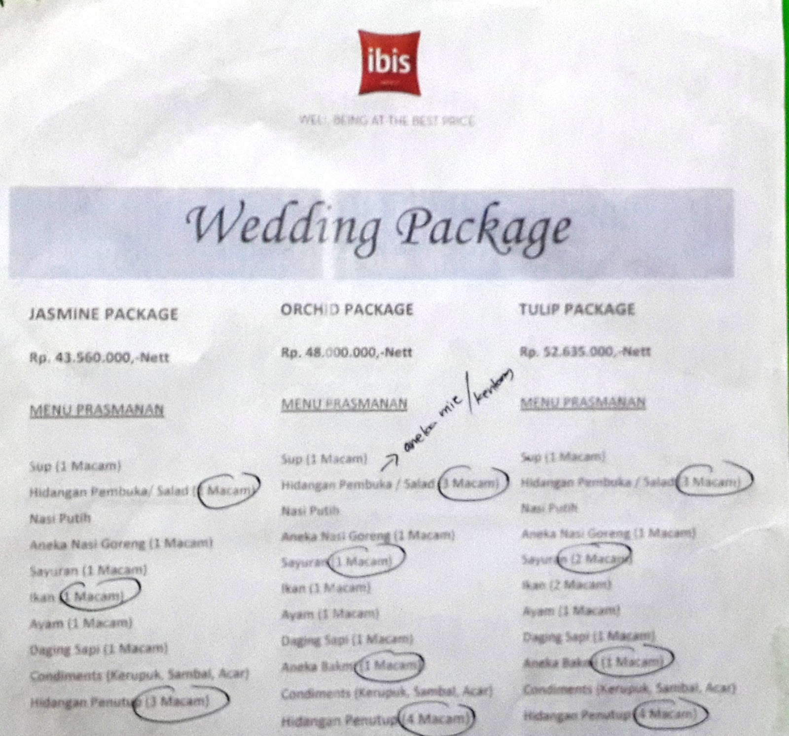 Once Upon a Time: Brosur Paket Pernikahan Hotel Ibis Slipi