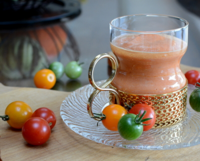 Tomato Bisque, another easy summer soup ♥ AVeggieVenture.com, start with Marcella Hazan's Famous Tomato-Onion Sauce. Fresh & Seasonal. Weeknight Easy, Weekend Special. Low Carb.