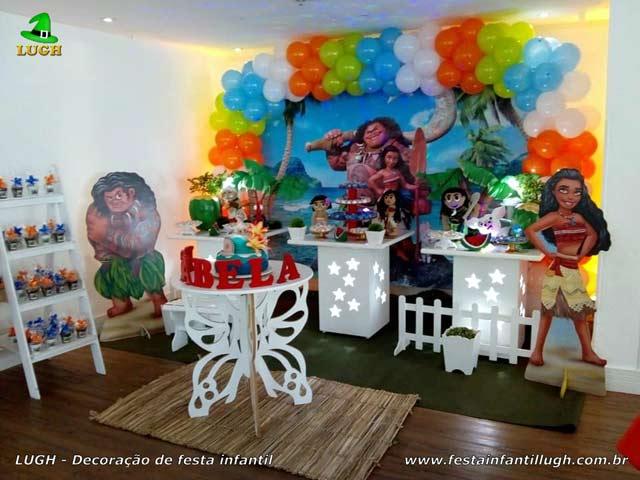 Decoração provençal - Festa tema Moana para aniversário infantil feminino
