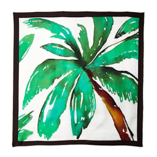 Kate Spade New York I Need A Vacation palm print cream and green with a black edge square silk scarf