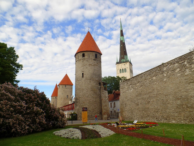 Tallinn Estonia Wall Towers Garden Flowers