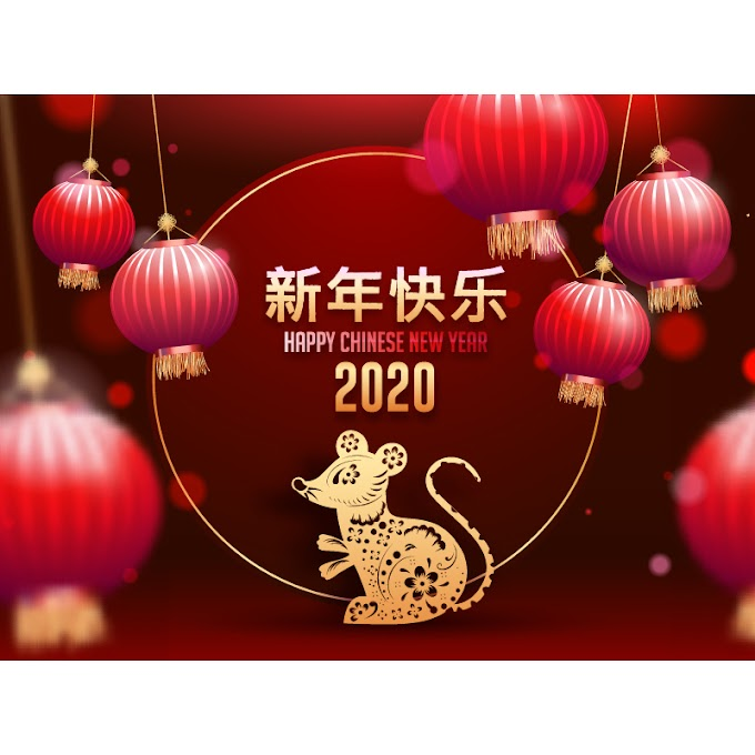 Happy Chinese New Year, 2020 New Year greeting card illustration free vector