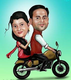 Gambar Karikatur Wedding India Naik Vespa