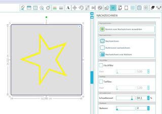 Screenshot Silhouette Software mit Nachzeichnungsoptionen