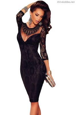 Vestidos de Encajes Negro