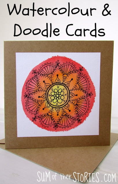 Watercolour and doodle mandala cards