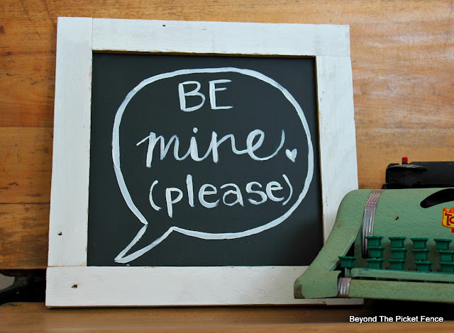 hand ettered sign, be mine, manners, valentine decor, love, wedding, DIY, chalkboard paint, http://bec4-beyondthepicketfence.blogspot.com/2016/01/be-mine-sign.html