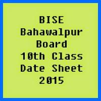 10th Class Date Sheet 2017 BISE Bahawalpur Board
