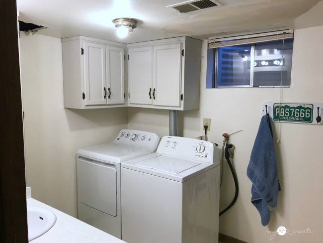 before washer and dryer area