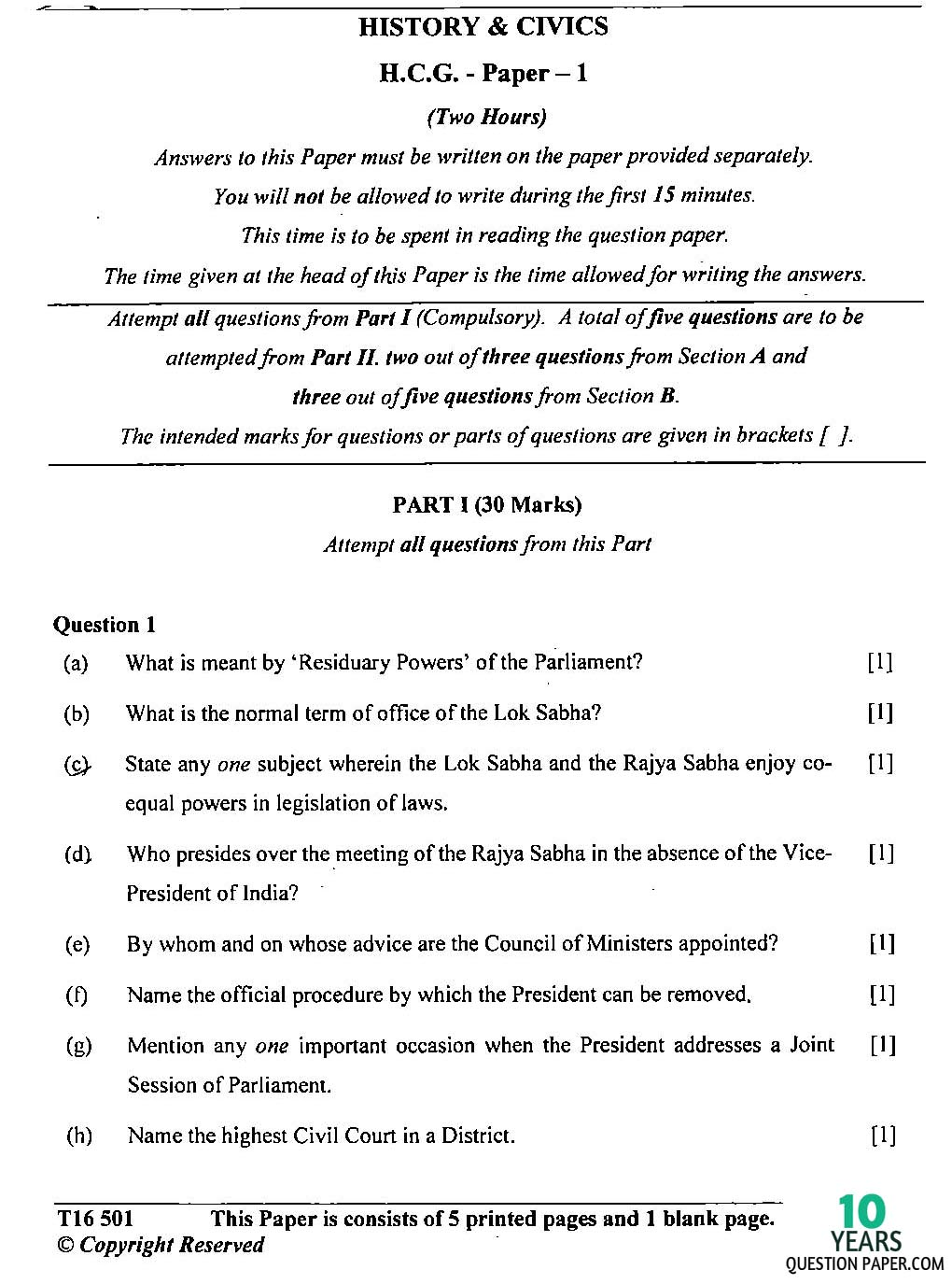 icse 2016 class 10th History & civics H.C.G Paper 1 question paper