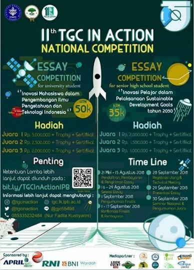 National Essay Competition TIA 2018 SMA Sederajat & Mahasiswa di IPB