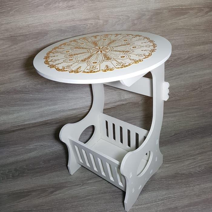 Meja Bulat Samping - Small Round Coffee Tea Table - PUSERBA