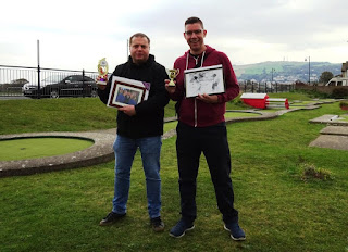 Ad Burton and Richard Gottfried - the Amateur and Pro Crazy Golf champions in Prestatyn