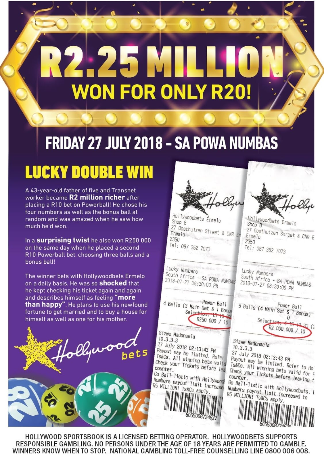 Hollywoodbets customer wins R2.25 Million with just R20! Betting on SA Powa Numbas. 27 July 2018.