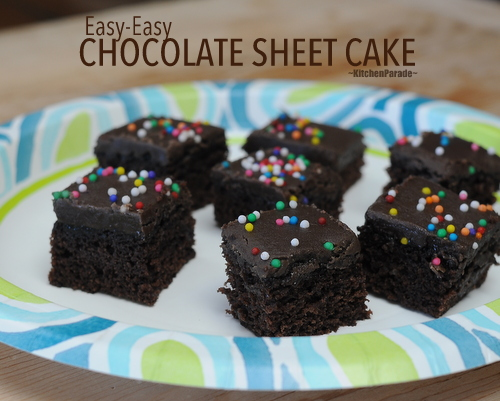Easy-Easy Chocolate Sheet Cake ♥ KitchenParade.com, dark, moist, chocolate-y. No mixer required.
