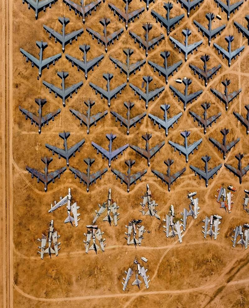 "B-52 bombers on the ""graveyard of technology"" in Tucson, Arizona, USA."